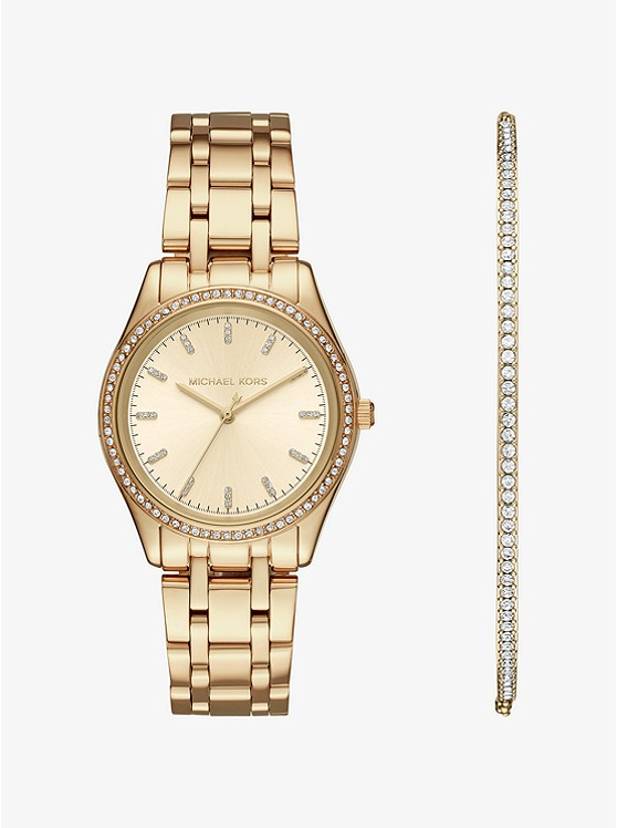 Kiley Gold-Tone Watch and Bracelet Set