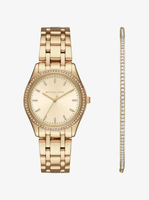 Kiley Gold Tone Watch And Bracelet Set Michael Kors