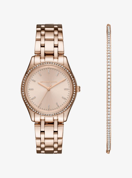 Kiley Rose Gold-Tone Watch and Bracelet Set