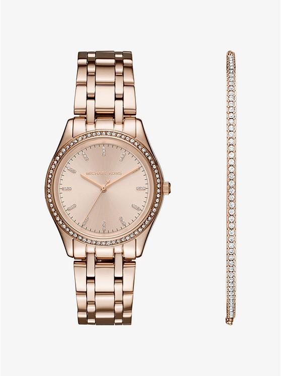 Kiley Rose Gold-Tone Watch and Bracelet Set