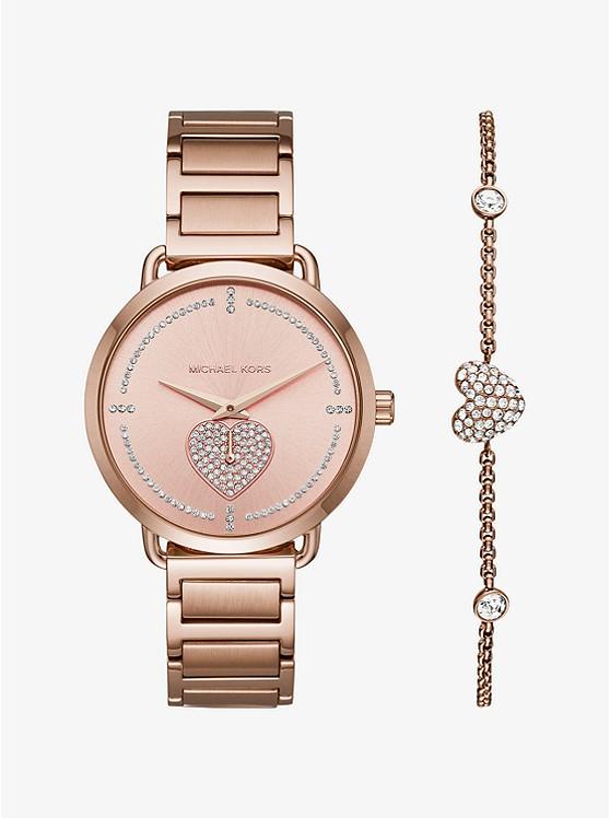 Portia Pavé Rose Gold Tone Watch And Bracelet Set