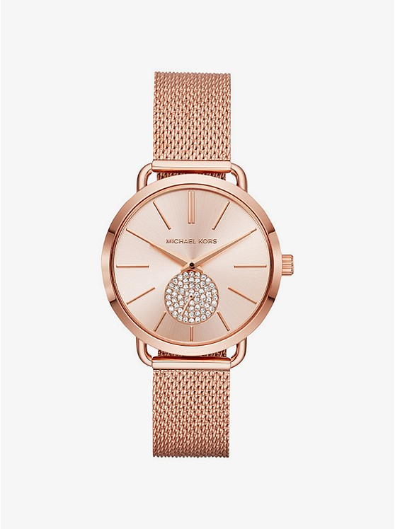Portia Mesh Rose Gold-Tone Watch