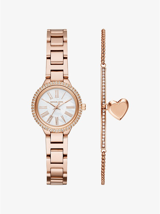 Pee Taryn Rose Gold Tone Watch And Bracelet Set