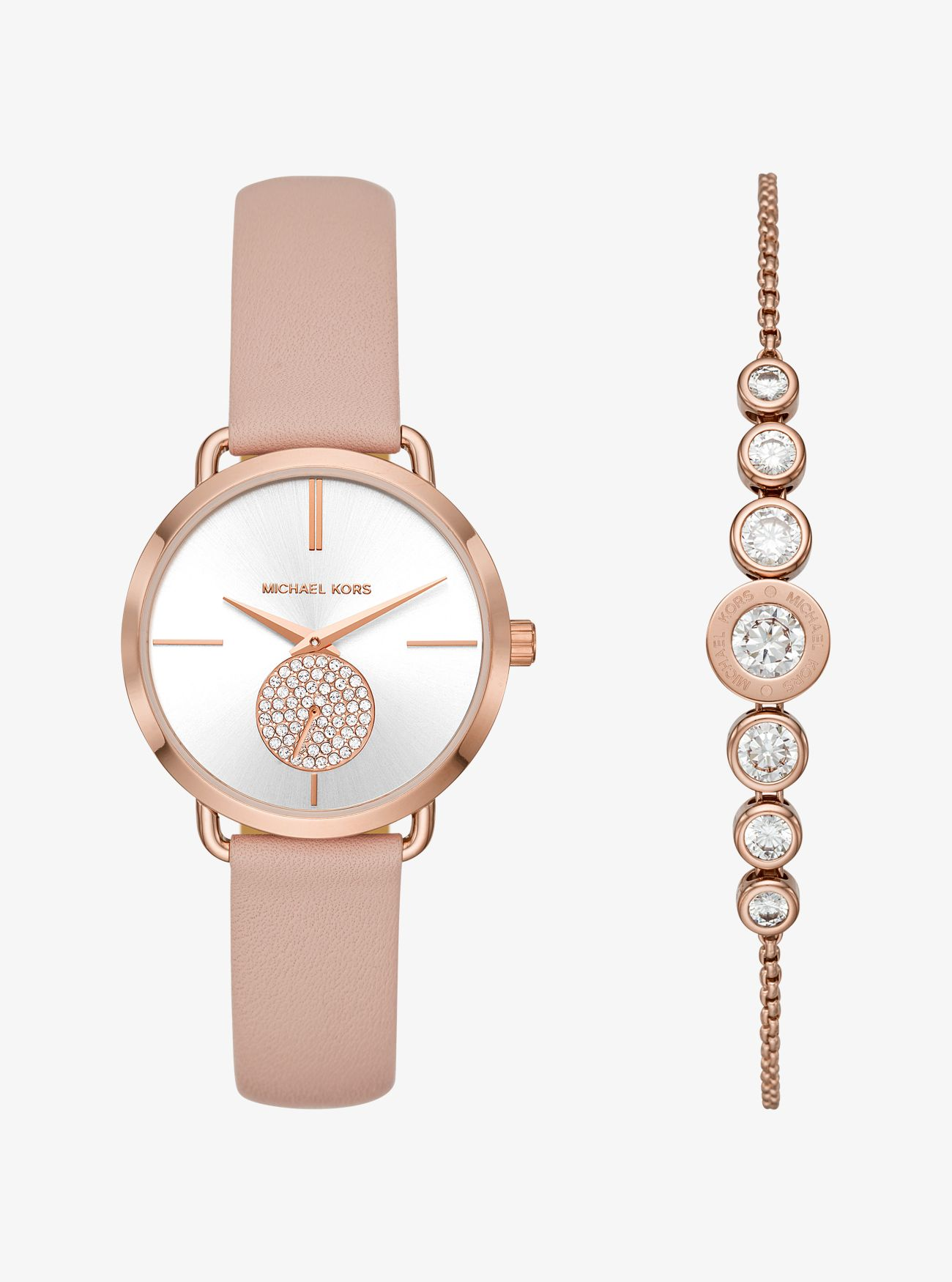 Portia Rose Gold Tone Watch And Bracelet Set