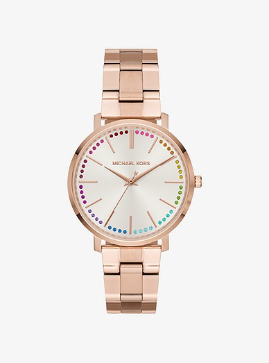 Jaryn Rainbow Pave Rose Gold Tone Watch Michael Kors