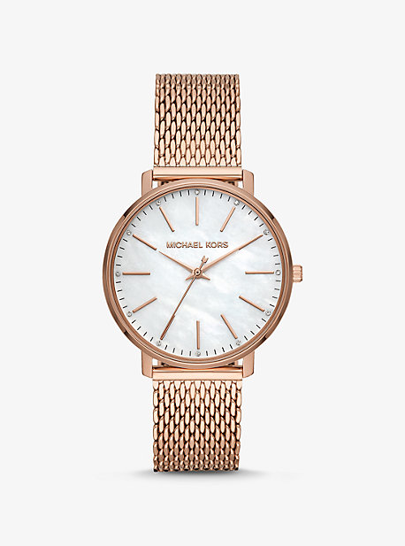 2e4421320185 Pyper Rose Gold-Tone Mesh and Pearl Watch
