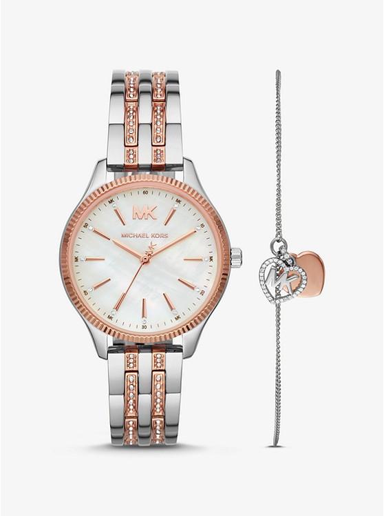 Lexington Two-Tone Watch and Logo Heart Bracelet Set