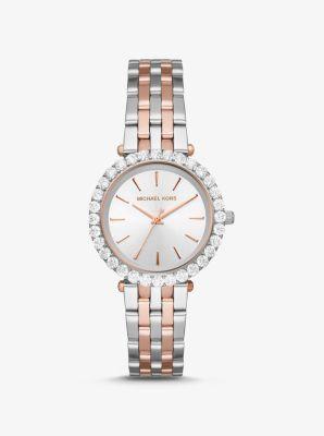 Zweifarbige Armbanduhr Darci mit Pavé Fassung