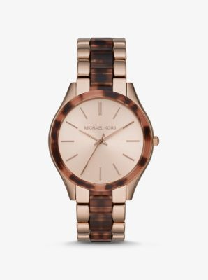 마이클 코어스 시계 Michael Kors Oversized Slim Runway Rose Gold-Tone and Acetate Watch,TORTOISE
