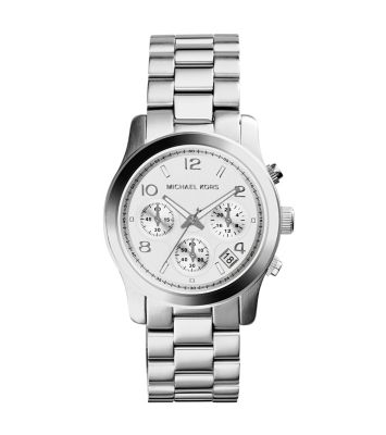 runway silver tone stainless steel chronograph watch. Black Bedroom Furniture Sets. Home Design Ideas