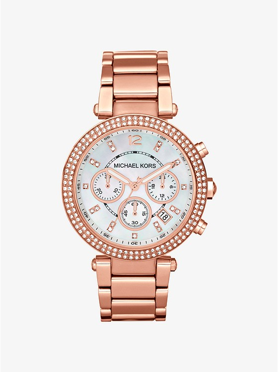 shoptagr parker rose gold tone watch by michael kors. Black Bedroom Furniture Sets. Home Design Ideas