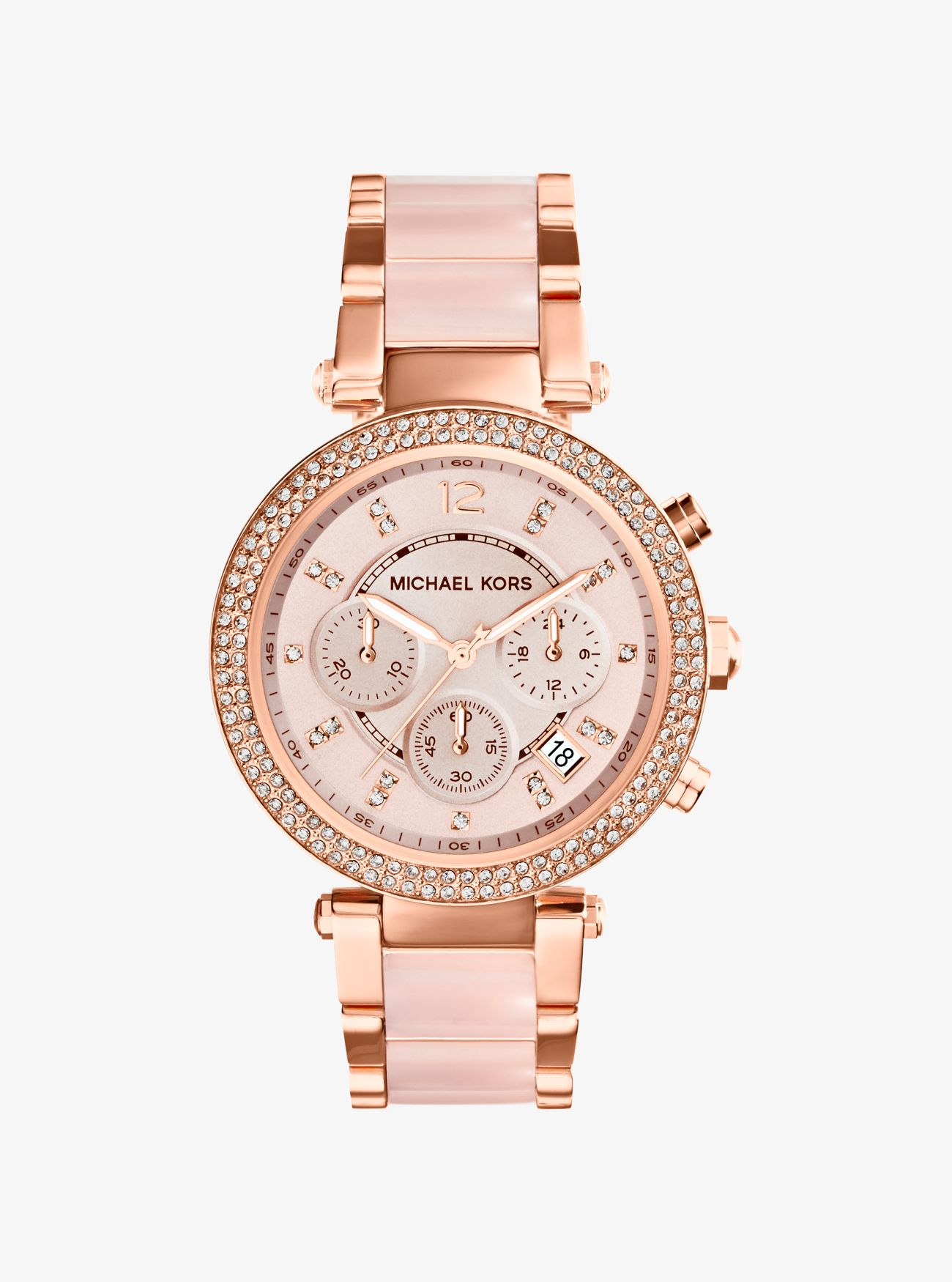 parker rose gold tone blush acetate watch michael kors