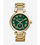 Skylar Green and Gold-Tone Stainless Steel Bracelet Watch