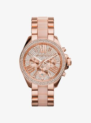 Wren Pav Acetate And Rose Goldtone Watch Michael Kors