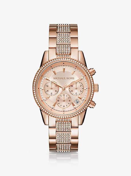 마이클 코어스 Michael Kors Ritz Pave Rose Gold-Tone Watch,ROSE GOLD