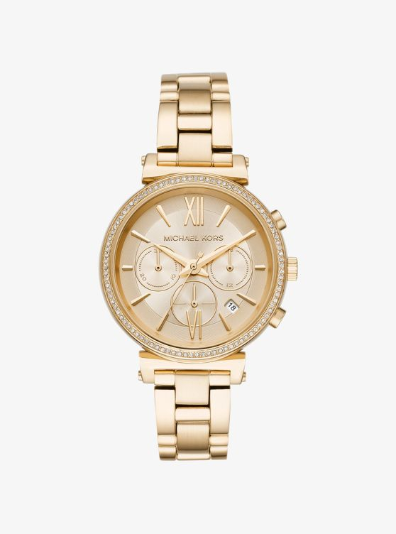 Sofie Pave Gold Tone Watch Michael Kors