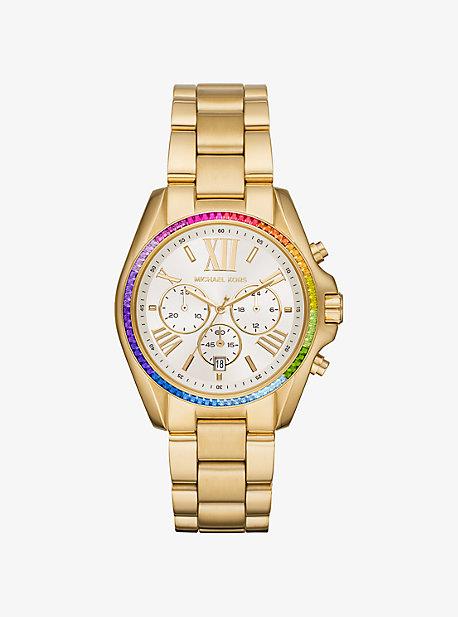 92036a96a44e6 Oversized Bradshaw Rainbow Pavé Gold-Tone Watch · michael kors · Oversized  Bradshaw Rainbow Pavé ...