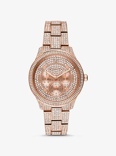 3101010f6 Runway Pavé Rose Gold-Tone Watch | Michael Kors