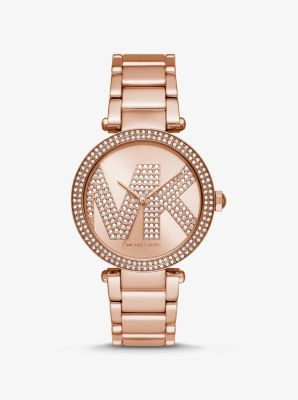 마이클 코어스 시계 Michael Kors Oversized Parker Pave Logo Rose Gold-Tone Watch,ROSE GOLD