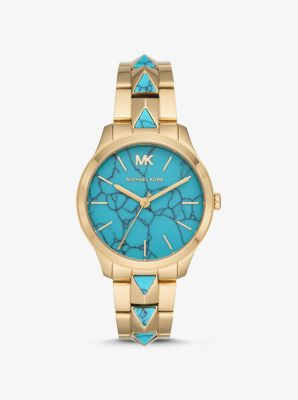 Runway Mercer Gold Tone And Turquoise Watch by Michael Kors