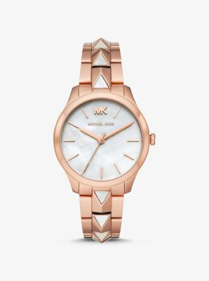 Runway Mercer Rose Gold Tone And Pearl Watch by Michael Kors