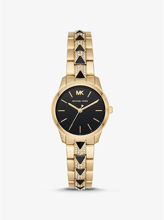 Petite Runway Mercer Pavé Gold Tone And Onyx Watch by Michael Kors