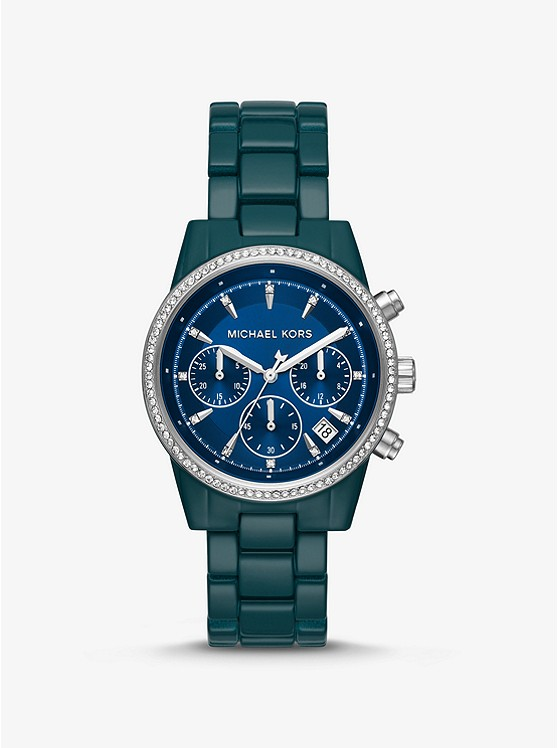 Ritz Pavé Teal Coated Watch by Michael Kors