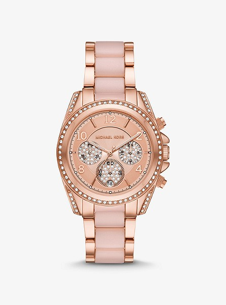 Oversized Blair Pavé Rose Gold-Tone and Acetate Watch