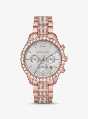 마이클 코어스 시계 Michael Kors Oversized Layton Pave Rose Gold-Tone Watch,TWO TONE