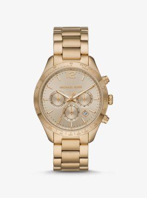 마이클 코어스 시계 Michael Kors Oversized Layton Gold-Tone Watch,GOLD