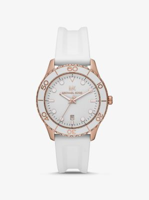 마이클 코어스 시계 Michael Kors Oversized Runway Dive Rose Gold-Tone and Silicone Watch,WHITE