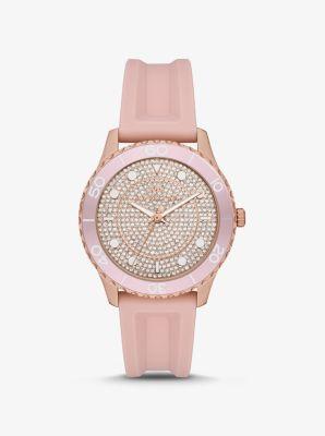 마이클 코어스 시계 Michael Kors Oversized Runway Dive Pave Rose Gold-Tone and Silicone Watch,PINK