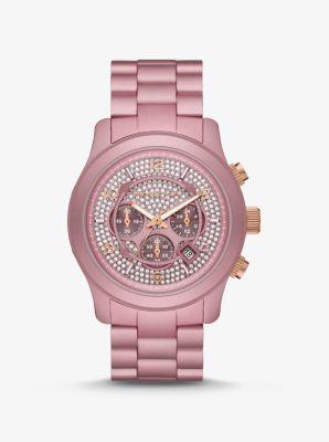 마이클 코어스 시계 Michael Kors Oversized Runway Pave Pink-Tone Aluminum Watch,PINK