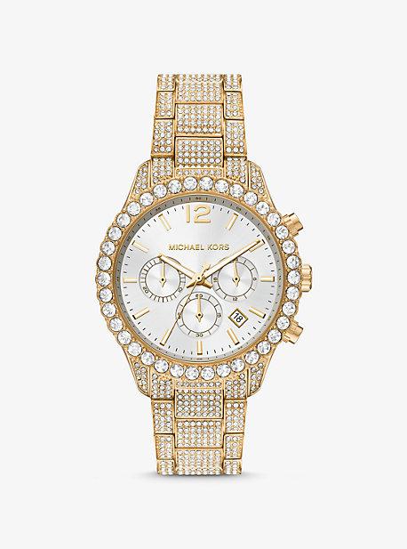 마이클 코어스 Michael Kors Oversized Layton Pave Gold-Tone Watch,GOLD