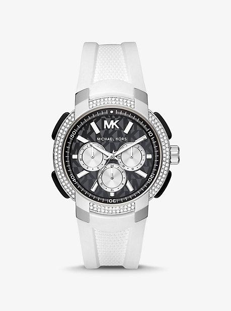 마이클 코어스 Michael Kors Oversized Pave Silver-Tone and Silicone Sport Watch,WHITE