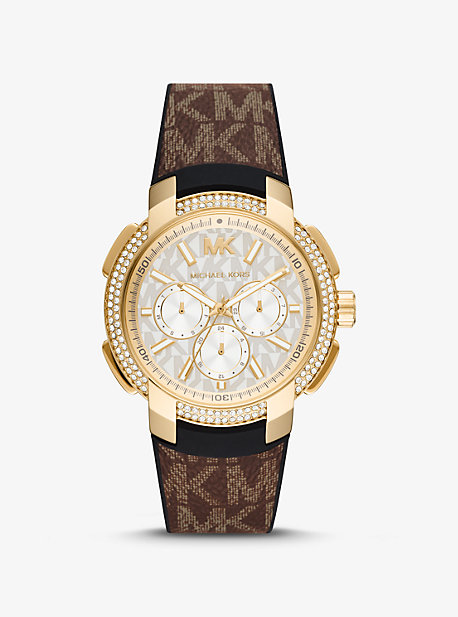 마이클 코어스 Michael Kors Oversized Pave Gold-Tone and Logo Sport Watch,BROWN