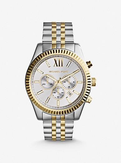 Oversized Lexington Two Tone Watch Michael Kors