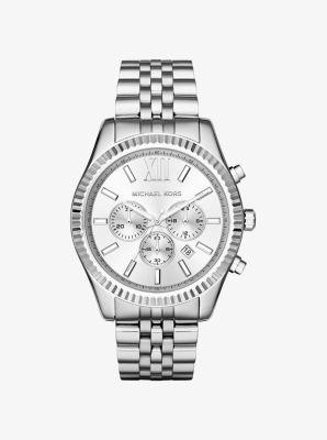 5e6222fc9821 Oversized Lexington Silver-Tone Watch
