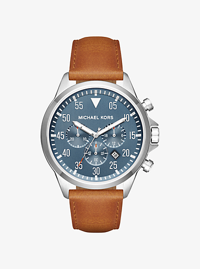 QUICKVIEW. michael kors �� Gage Silver-Tone and Leather Watch ��  $250.00$250.00