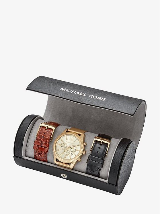 Lexington Gold-Tone Interchangeable Watch Set