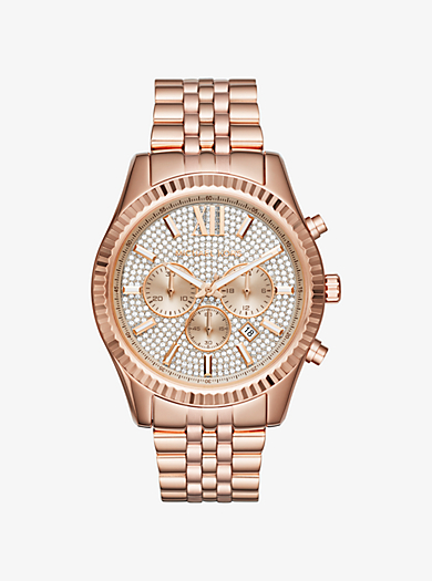 rose gold watches men michael kors lexington pavé rose gold tone watch · michael kors