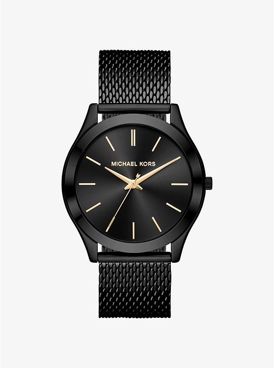 Slim Runway Mesh Black-Tone Watch