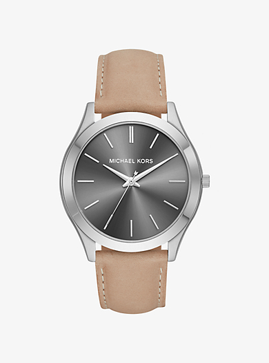 b07a32098ef18 Slim Runway Silver-Tone and Leather Watch