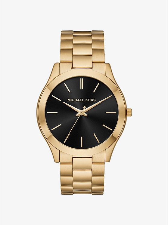 Oversized Slim Runway Gold Tone Watch by Michael Kors