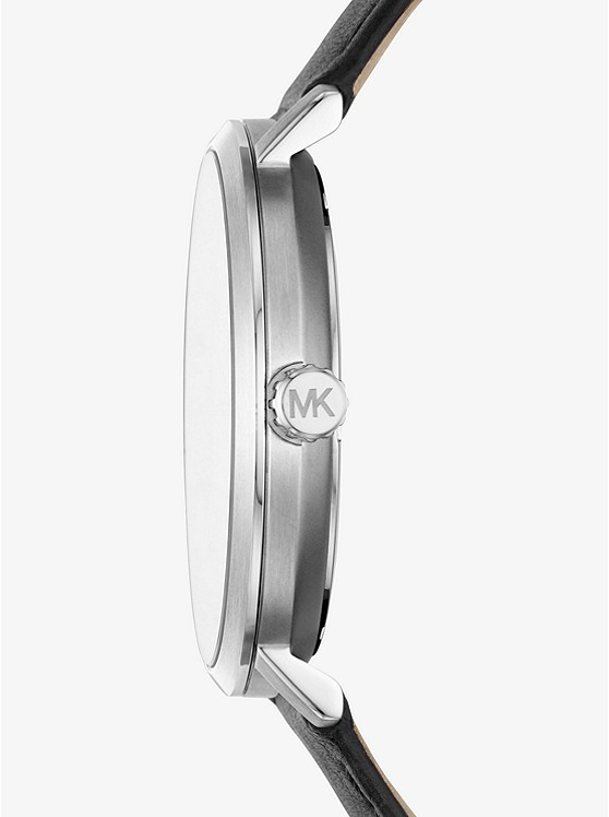 f0fbf08a858e ... Blake Silver-Tone and Leather Watch
