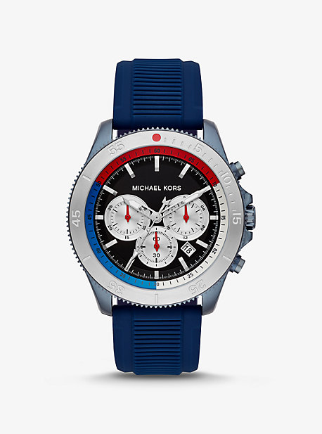 6bfcf8e5f Oversized Theroux Blue-Tone and Silicone Watch · michael kors ...