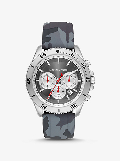 5d7fe2488316 Oversized Theroux Silver-Tone and Camo Silicone Watch · michael kors ...