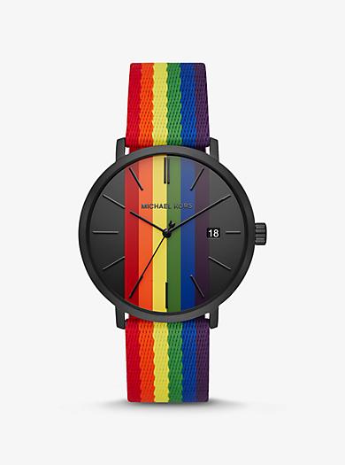 cb599152735d Reloj Blake en tono negro con rayas tipo arcoíris