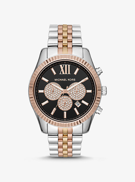 dff230943 Oversized Lexington Tri-Tone Watch · michael kors ...