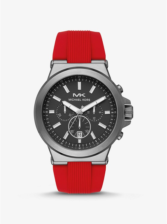 Oversized Dylan Gunmetal Tone And Silicone Watch by Michael Kors
